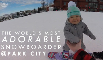 Adorable 1 Year Old Snowboards at Park City Utah