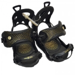 Gnu Demo B-Real Women Snowboard Bindings - Black Gold Small Medium
